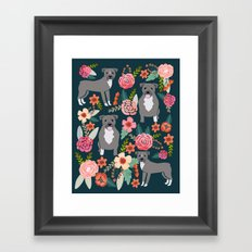 Pit Bull Terrier florals must have dog art pet friendly gifts for pit bull owners cute illustration  Framed Art Print