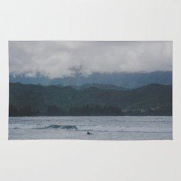 Lone Surfer - Hanalei Bay - Kauai, Hawaii Rug