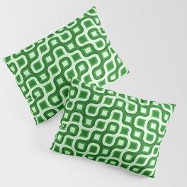 Truchet Modern Abstract Concentric Circle Pattern - Green Pillow Sham