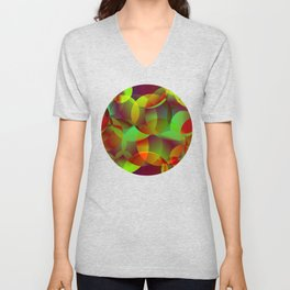 Vector abstract seamless background from space yellow and green bright circles and bubbles for fabri Unisex V-Neck