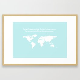 World Map with inspirational Dr. Seuss quote in teal, green, mint Framed Art Print