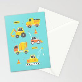 Constructon Trucks on Aqua Blue Stationery Cards