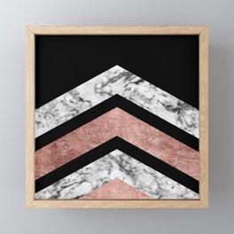 Modern rose gold black white geometric marble Framed Mini Art Print
