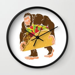 """Bigfoot With A Taco Funny Cinco De Mayo T-Shirt "" Wall Clock"
