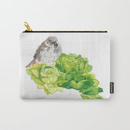 Bird on Succulents- Watercolor Painting Carry-All Pouch