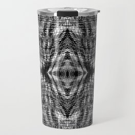 vintage geometric symmetry pattern abstract background in black and white Travel Mug