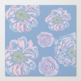 Abstract Flowers Blue #society6 #buyart Canvas Print