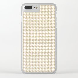 Christmas Gold and White Hounds Tooth Check Clear iPhone Case