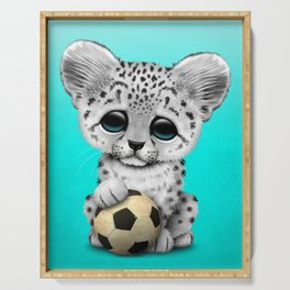 Snow leopard Cub With Football Soccer Ball Serving Tray
