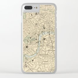 Vintage Map of London England (1901) Clear iPhone Case