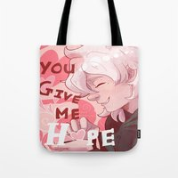 dangan ronpa Tote Bags featuring Nagito Valentines  by NerdyLazorz