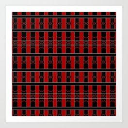 Multi Red Black Stripe Pattern Design Art Print