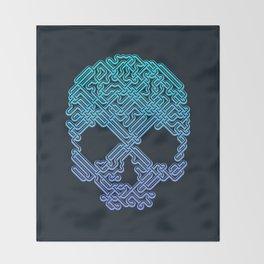Labyrinthine Skull - Neon Throw Blanket