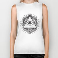 all seeing eye Biker Tanks featuring All Seeing Eye by E1 illustration
