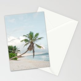 Lonely Palmtree at paradise beach La Digue Seychelles  Stationery Cards