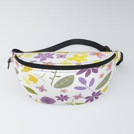 Ziti, Purple and Yellow Chintz Pattern, Floral Design. Fanny Pack