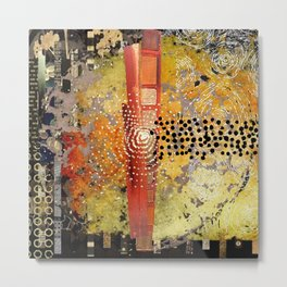 Orange Gold Burst Abstract Art Collage Metal Print