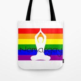 Gay Pride Rainbow Flag Yoga Shirt - NamasGay - Gift For Yoga Meditation Lovers Tote Bag