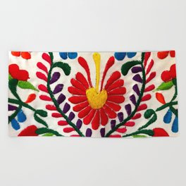 Red Mexican Flower Beach Towel