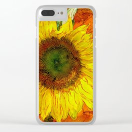 Sunflower Leaf Impression Clear iPhone Case