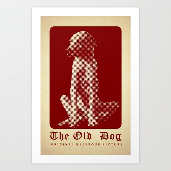 The Old Dog Original Halftone Picture Art Print