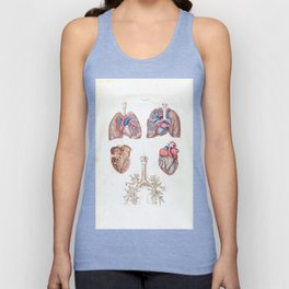 Vintage Anatomy of Human Heart and Lungs Unisex Tank Top