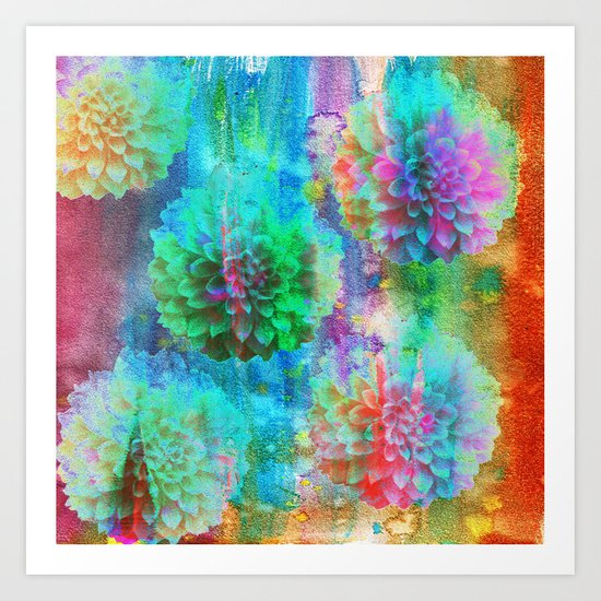 Colorful Dahlias Q Art Print