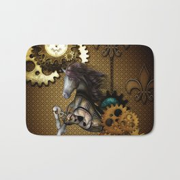 Steampunk, awesome steampunk horse Bath Mat