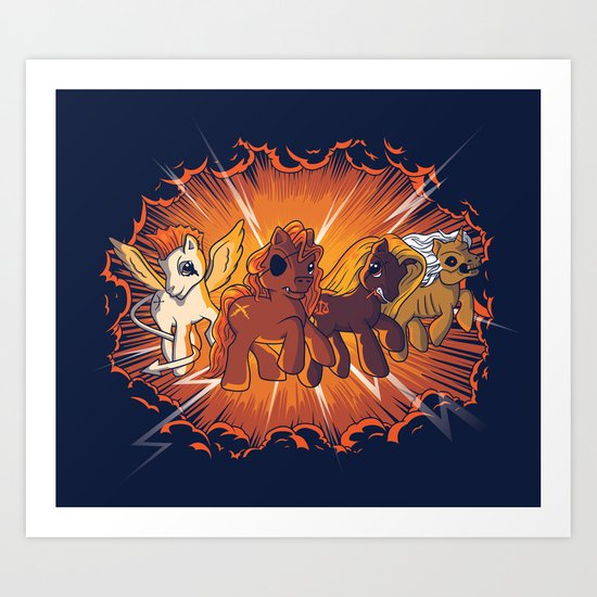 Four Little Ponies of the Apocalypse Art Print