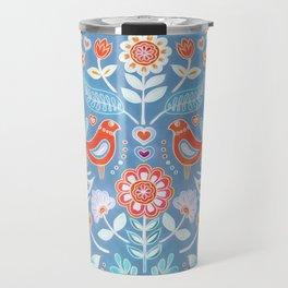 Happy Folk Summer Floral on Light Blue Travel Mug