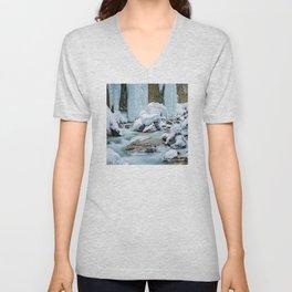 Frozen waterfalls, fairytale landscape, blue frozen water Unisex V-Neck