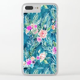 NAVY PARADISE FLORAL Tropical Hibiscus Palm Pattern Clear iPhone Case