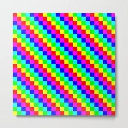 Square Grid 6 color 24x24 Metal Print