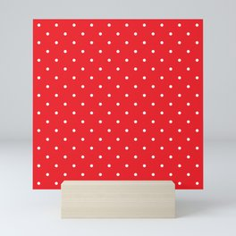 Small White Polka Dots with Red Background Mini Art Print