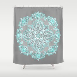 Teal and Aqua Lace Mandala on Grey Shower Curtain