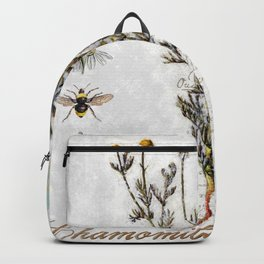 Chamomile Herb, Dragonfly Bumble Bee Botanical painting, Cottage style Backpack