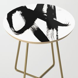 Brushstroke 2 - simple black and white Side Table