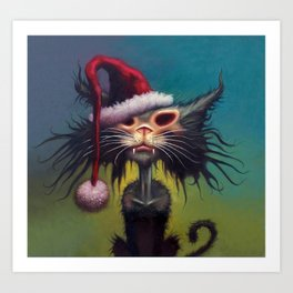 Zombie Cat Christmas Art Print