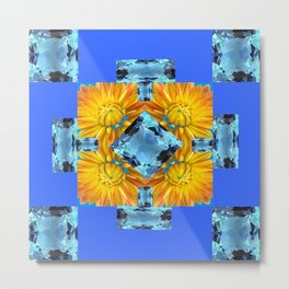 AQUA GEMS & GOLDEN FLOWER PATTERNS ON BLUE ART Metal Print
