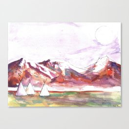 Three Jewels Watercolor Painting of Three Tipis Canvas Print