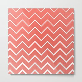 Living Coral and White Zigzag Chevron Pattern Metal Print
