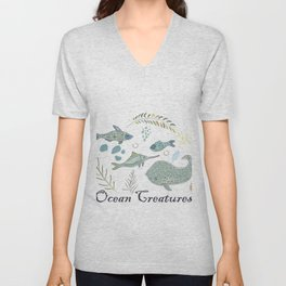 Cute Winter Icon with ocean fish and algae. Hand Drawn Scandinavian Style. Unisex V-Neck
