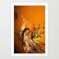 orange pattern Art Prints featuring ORANGE PATTERN by Ylenia Pizzetti