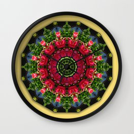 Red Roses with hearts 002, Floral mandala-style, Flower Mandala Wall Clock