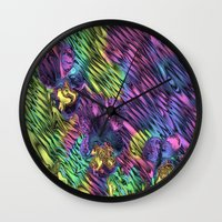 psychedelic Wall Clocks featuring Psychedelic by Dorothy Pinder