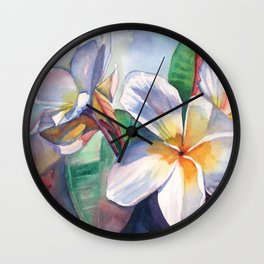 Tropical Plumeria Flowers Wall Clock
