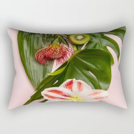 Creative flat lay with tropical fruits and plants on pink background Rectangular Pillow