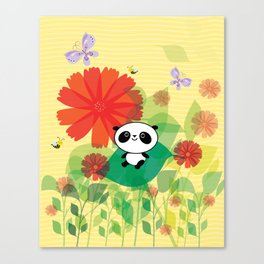 panda and flowers Canvas Print