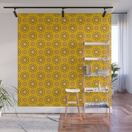 Orange Crush Retro Sunburst Print Seamless Pattern Wall Mural