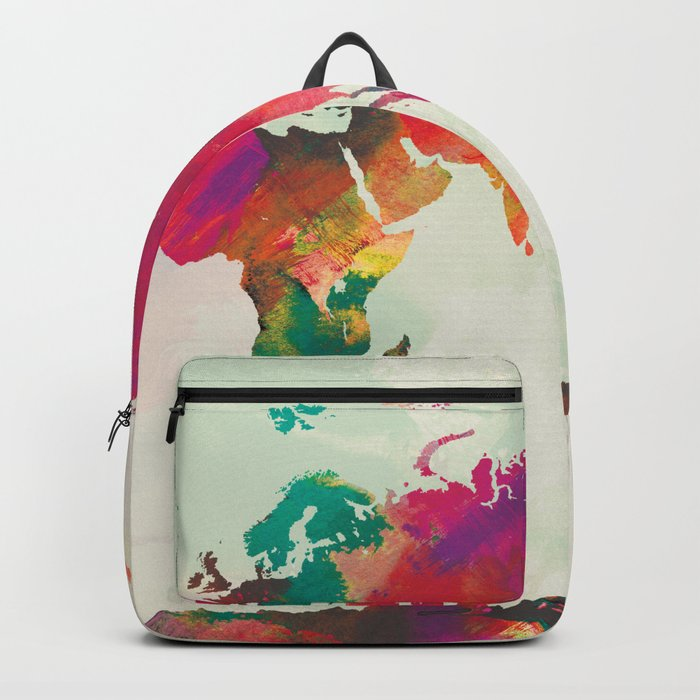 Watercolor World Map Backpack By Champagne Society6